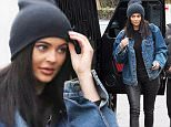 """Kylie Jenner heads for a meal at Kabuki restaruant with a friend. The youngest of the Kardashian clan wears a jean jacket from brother-in-law Kanye West's """"Pablo"""" project. Friday, April 8, 2015 X17online.com"""