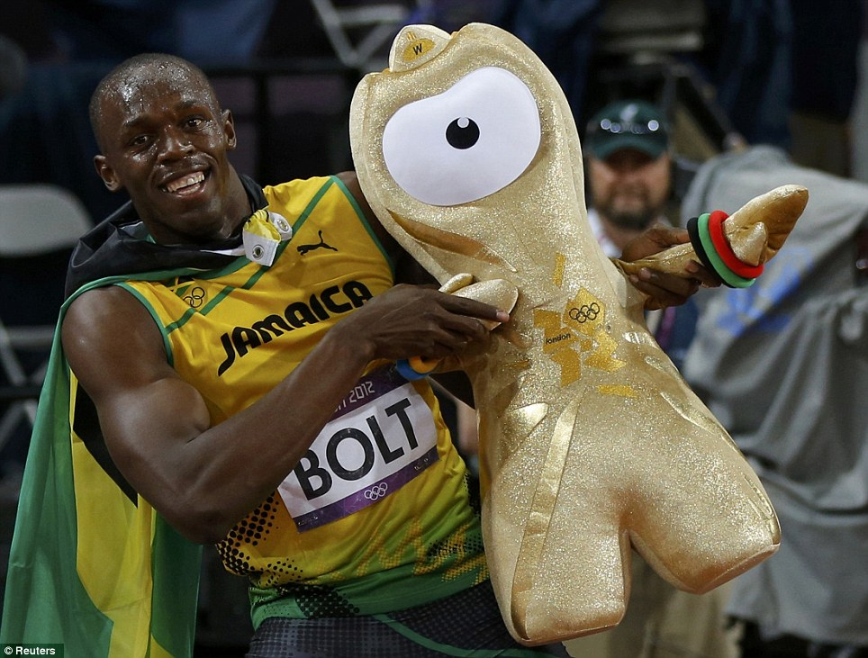 Toy story: Bolt helps London 2012 mascot 'Wenlock' strike his famous pose