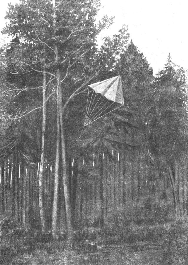 Фиг. 16. Полет модели парашюта