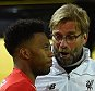 DORTMUND, NORTH RHINE-WESTPHALIA - APRIL 07:  (THE SUN OUT, THE SUN ON SUNDAY OUT) Jurgen Klopp manager of Liverpool talks to Daniel Sturridge of Liverpool during the UEFA Europa League Quarter Final First Leg match between Borussia Dortmund and Liverpool on April 7, 2016 in Dortmund, Germany.  (Photo by Andrew Powell/Liverpool FC via Getty Images)