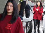 Please contact X17 before any use of these exclusive photos - x17@x17agency.com   Sunday, April 10, 2016 - Kylie Jenner supports brother-in-law Kanye West with her Life of Pablo shirt.  She enjoyed lunch in Calabasas with a friend.  Kylie paired her LOP shirt with black leather leggings and a mini-Birkin by Hermes.  Boyfriend Tyga was absent.\nAZ-Daddy/X17online.com