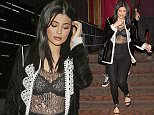 Kylie Jenner wearing a mesh top showing her Bra and black pants was seen leaving 'ROKU' Sushi Restaurant in Beverly Hills, CA  Pictured: Kylie Jenner Ref: SPL1260835  100416   Picture by: SPW / TwisT / Splash News  Splash News and Pictures Los Angeles: 310-821-2666 New York: 212-619-2666 London: 870-934-2666 photodesk@splashnews.com
