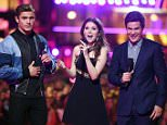 BURBANK, CALIFORNIA - APRIL 09:  (L-R) Actors Zac Efron, Anna Kendrick and Adam DeVine speak onstage during the 2016 MTV Movie Awards at Warner Bros. Studios on April 9, 2016 in Burbank, California.  MTV Movie Awards airs April 10, 2016 at 8pm ET/PT.  (Photo by Kevin Winter/Getty Images for MTV)