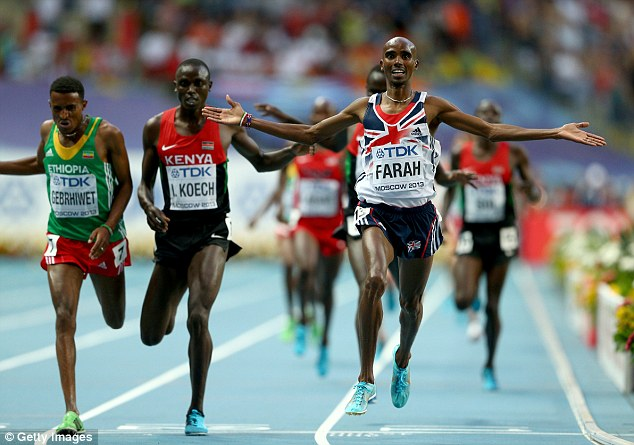 Endurance: Mo Farah won 10,000m and 5,000m gold at the World Championships in Moscow