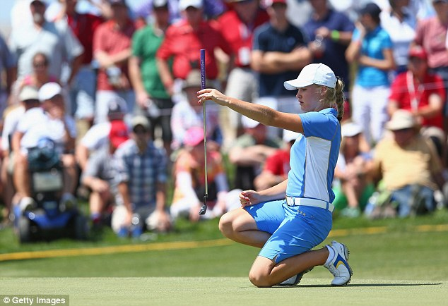 Lining it up: Charley Hull helped the European team to Solheim Cup success in Colorado