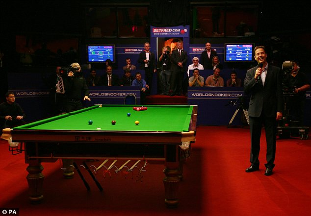 Pot luck: Nick Clegg received some boos as he took to the floor at World Snooker Championships in Sheffield