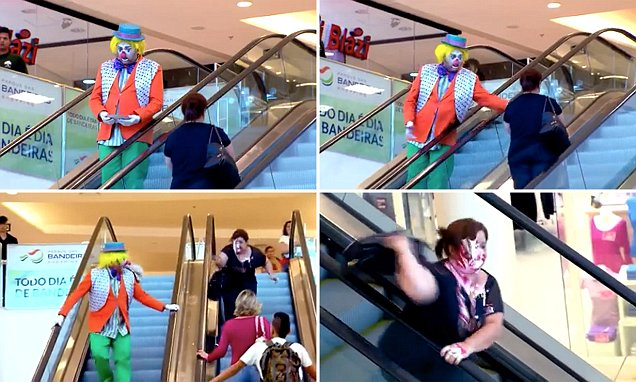 Clown throws pie into woman's face and she goes crazy in Brazilian mall