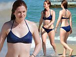 """*PREMIUM-EXCLUSIVE* Sydney, NSW - Exclusive - Harry Potter star, Bonnie Wright, """"ginny"""" is seen relaxing and swimming at Bondi Beach, Sydney, Australia with friends on a holiday Down Under.  BackGrid 12 APRIL 2016  For content licensing please contact BackGrid Australia at: Phone: +61 2 9212 2622 / +61 410 818 463 Email:  photos@backgrid.com.au"""