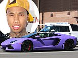 UK CLIENTS MUST CREDIT: AKM-GSI ONLY Rapper Tyga, who is currently dating 'KUWTK' star Kylie Jenner, enjoys a sunny afternoon riding around in his impressive Lamborghini Aventador Roadster with a friend in Sherman Oaks, CA.  Pictured: Tyga Ref: SPL1047373  060615   Picture by: AKM-GSI / Splash News