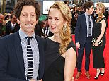 """LONDON, ENGLAND - APRIL 12:  Simon Helberg (L) and wife Jocelyn Towne arrive for the UK film premiere Of """"Florence Foster Jenkins"""" at Odeon Leicester Square on April 12, 2016 in London, England.  \nPhoto Credit: Dave Benett"""
