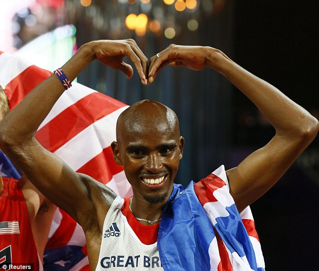 Celebrating: Mo Farah performed his signature move after claiming victory in the 10,000m Olympic final