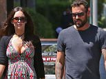 "Exclusive... 52021921 Pregnant Megan Fox is spotted grabbing lunch with estranged husband Brian Austin Green in Santa Monica on April 12, 2016. The couple has filed for a divorce, but the unexpected pregnancy may postpone the decision to separate entirely, as they focus on the new baby. Megan recently put up an Instagram post of three of her former male co-stars, Shia LaBeouf, Will Arnett, and Jake Johnson, with the hashtag ""#notthefather"" as a razz to media speculation on the identity of the child's father. ***NO WEB USE W/O PRIOR AGREEMENT - CALL FOR PRICING*** FameFlynet, Inc - Beverly Hills, CA, USA - +1 (310) 505-9876"