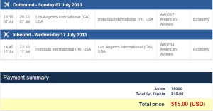 Three tickets from LAX-HNL using 75K Avios + $15 total!