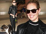 Los Angeles, CA - Kate Upton arrives at LAX on Wednesday afternoon with her dog Harley by her side. The 23-year-old model is wearing an all black look with a choker and leather jacket for a biker chic look. \nAKM-GSI   April  13, 2016\nTo License These Photos, Please Contact :\nSteve Ginsburg\n(310) 505-8447\n(323) 423-9397\nsteve@akmgsi.com\nsales@akmgsi.com\nor\nMaria Buda\n(917) 242-1505\nmbuda@akmgsi.com\nginsburgspalyinc@gmail.com