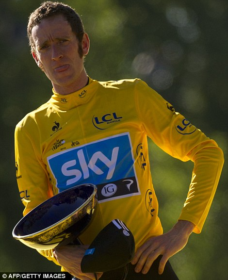 Posing with his trophy: Wiggins is now setting his sights on a fourth Olympic Gold Medal, on home soil