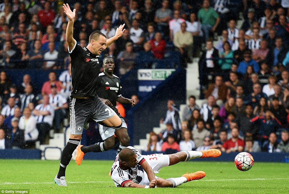 John Terry was sent off for this last-man offence on Salomon Rondon as Chelsea played with 10 men for more than half an hour