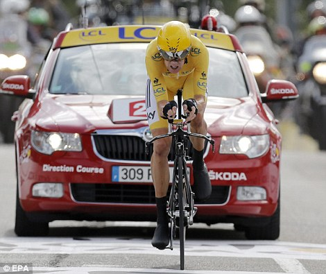 Out in front: Wiggins is the first Brit to win the Tour