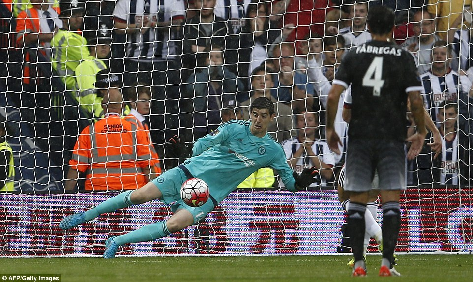 Chelsea goalkeeper Courtois saved the penalty with his trailing leg as he it went up and over the crossbar for a West Brom corner