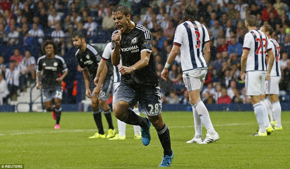 Azpilicueta runs away in celebration after scoring for Chelsea against West Brom in their first Premier League victory this season