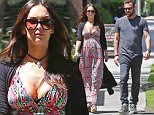"""Exclusive... 52021921 Pregnant Megan Fox is spotted grabbing lunch with estranged husband Brian Austin Green in Santa Monica on April 12, 2016. The couple has filed for a divorce, but the unexpected pregnancy may postpone the decision to separate entirely, as they focus on the new baby. Megan recently put up an Instagram post of three of her former male co-stars, Shia LaBeouf, Will Arnett, and Jake Johnson, with the hashtag """"#notthefather"""" as a razz to media speculation on the identity of the child's father. ***NO WEB USE W/O PRIOR AGREEMENT - CALL FOR PRICING*** FameFlynet, Inc - Beverly Hills, CA, USA - +1 (310) 505-9876"""