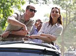 GUWAHATI, INDIA - APRIL 13:  Catherine, Duchess of Cambride and Prince William, Duke of Cambridge ride in an open-air jeep on safari around the National Park at Kaziranga National Park on April 13, 2016 in Guwahati, India.  (Photo by Samir Hussein/Pool/WireImage)