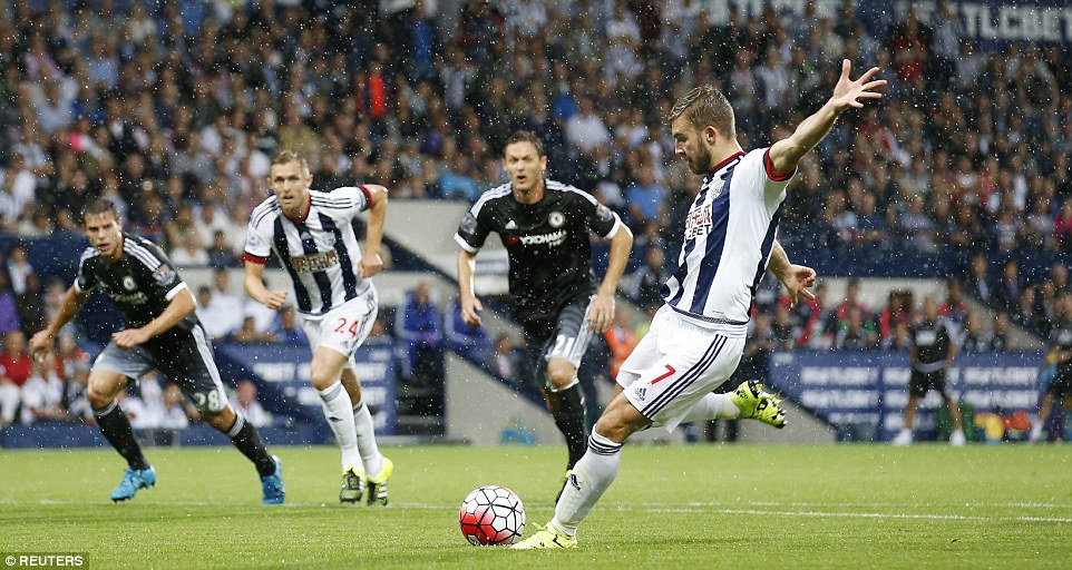 James Morrison took the resulting penalty but his effort down the centre was saved by the trailing leg of goalkeeper Thibaut Courtois