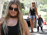 Brentwood, CA - Fergie flaunts what she's got at the park with her husband Josh Duhamel and their son Axl Jack Duhamel. The sexy singer is seen ready for Spring in a cleavage-revealing black tank top, short denim shorts, brown boots, and a leopard scarf.\n  \nAKM-GSI      April 14, 2016\nTo License These Photos, Please Contact :\nSteve Ginsburg\n(310) 505-8447\n(323) 423-9397\nsteve@akmgsi.com\nsales@akmgsi.com\nor\nMaria Buda\n(917) 242-1505\nmbuda@akmgsi.com\nginsburgspalyinc@gmail.com