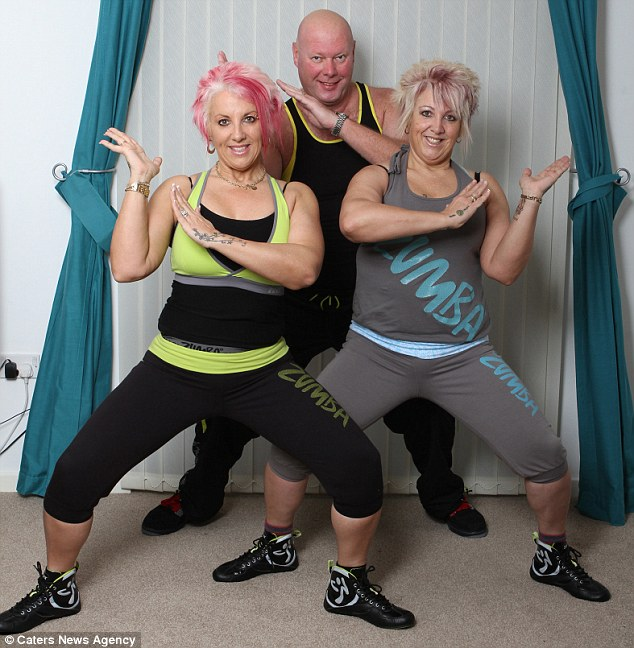 Karren (left), husband David (centre) and sister Paula (right) have all lost weight through zumba dancing