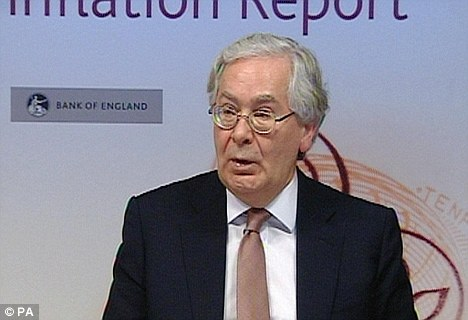 Gloom: Bank of England Governor Mervyn King confirmed inflation is expected to soar close to 5 per cent before falling to around the 2 per cent target in 2012 - but only if interest rates rise at least twice by the end of the year