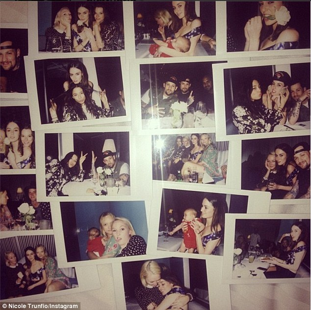 Nearest and dearest: The brunette beauty went out in the evening to celebrate her birthday with friends, including Joel Madden and Jessica Gomes
