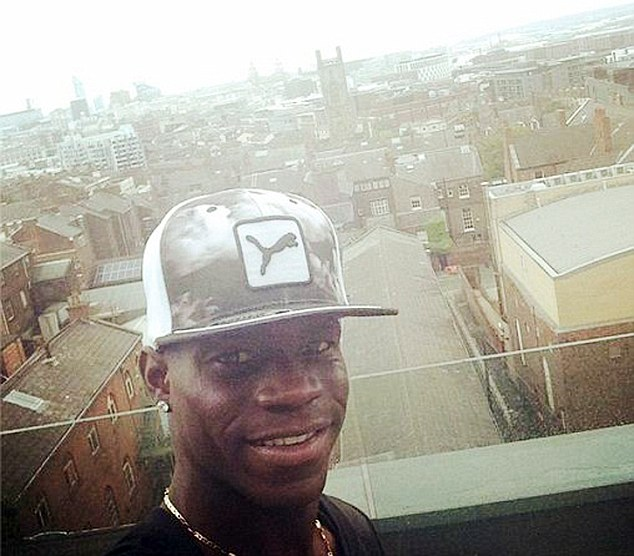 Hat-trick: Balotelli put a picture up on Instagram of himself with Liverpool in the background