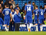 Chelsea Interim Manager Guus Hiddink looks disappointed with his players during the Barclays Premier League match between Chelsea and Manchester City played at Stamford Bridge Stadium, London on April 16th 2016