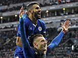 """Jamie Vardy celebrates with Riyad Mahrez after scoring the first goal for Leicester City during their English Premier League soccer match against Newcastle United at St James' Park in Newcastle, Britain, in this November 21, 2015 file photo. To match Feature SOCCER-ENGLAND/LEI-WORLD  REUTERS/Craig Brough/Files   FOR EDITORIAL USE ONLY. NOT FOR SALE FOR MARKETING OR ADVERTISING CAMPAIGNS. NO USE WITH UNAUTHORIZED AUDIO, VIDEO, DATA, FIXTURE LISTS, CLUB/LEAGUE LOGOS OR """"LIVE"""" SERVICES. ONLINE IN-MATCH USE LIMITED TO 45 IMAGES, NO VIDEO EMULATION. NO USE IN BETTING, GAMES OR SINGLE CLUB/LEAGUE/PLAYER PUBLICATIONS"""