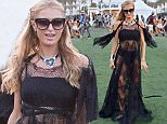 Paris Hilton wears a bikini under a lace dress at Coachella  Pictured: Paris Hilton Ref: SPL1265216  150416   Picture by: Fern / Splash News  Splash News and Pictures Los Angeles: 310-821-2666 New York: 212-619-2666 London: 870-934-2666 photodesk@splashnews.com