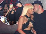 MIN FEE TO BE AGREED EXCLUSIVE: Rob Kardashian gets an engagement cake with his fiance Blac Chyna inside ACES gentleman's club and spends time getting close to his girl. At one moment some dancers were at the table in their outfits and talking to Rob and his girl. Later Rob held a bottle in his hand at the vip table as they enjoyed the night together inside til nearly 4am.  Pictured: Rob Kardashian, Blac Chyna Ref: SPL1264111  140416   EXCLUSIVE Picture by: Brian Prahl / Splash News  Splash News and Pictures Los Angeles:    310-821-2666 New York:    212-619-2666 London:    870-934-2666 photodesk@splashnews.com