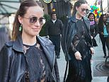 April 14, 2016: Olivia Wilde sporting a moto jacket over a lace evening gown heads to an event in New York City. \nMandatory Credit: Cepeda/INFphoto Ref: infusny259