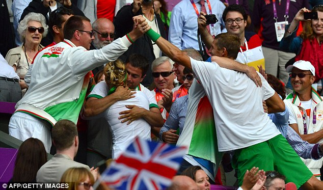 Party time: Victoria Azarenka and Max Mirnyi celebrate with their relatives and team