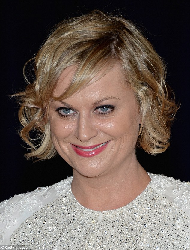 Fresh-faced: The 41-year-old wore her short blonde hair in a tousled style and added a bright touch with pink lipgloss