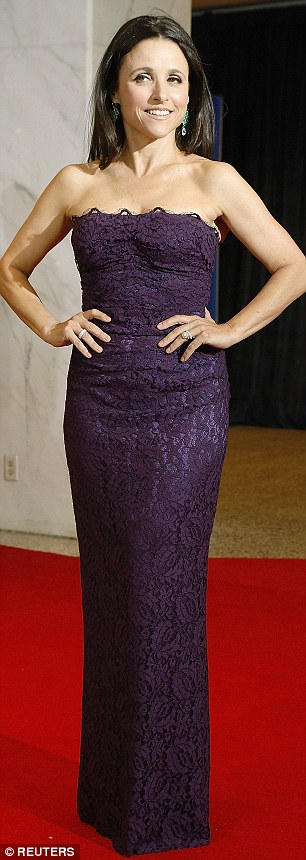 Purple passion: Brunette beauties Julie Louis-Dreyfus and Michelle Dockery looked gorgeous in long purple gowns