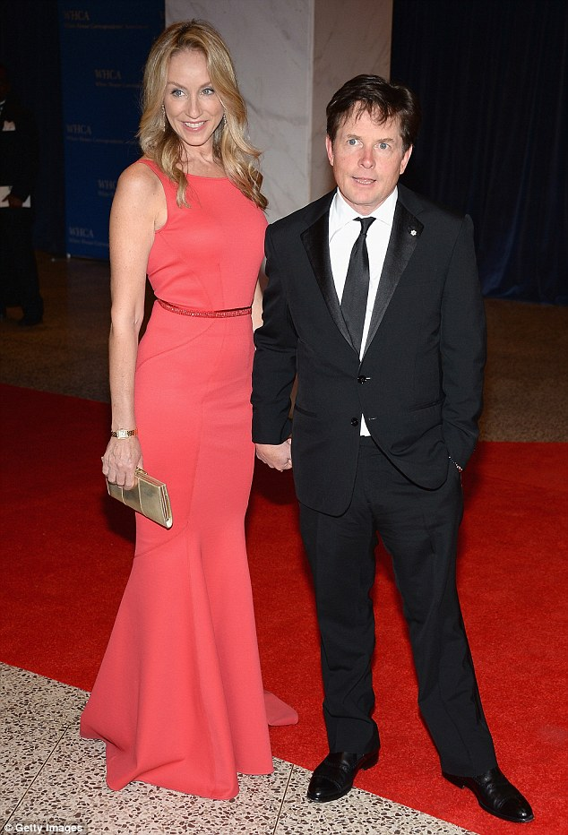 Longtime couple: Tracy Pollan and husband Michael J. Fox made a handsome pair as they stood hand-in-hand together on the red carpet