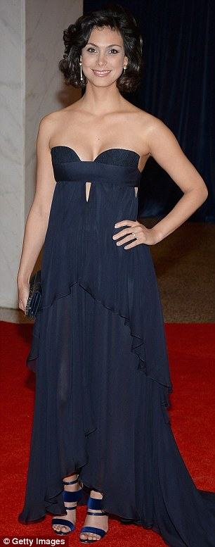 Beauties in blue: Homeland's Morena Baccarin and Mad Men's Jessica Pare opted for a darker effect in midnight blue gowns