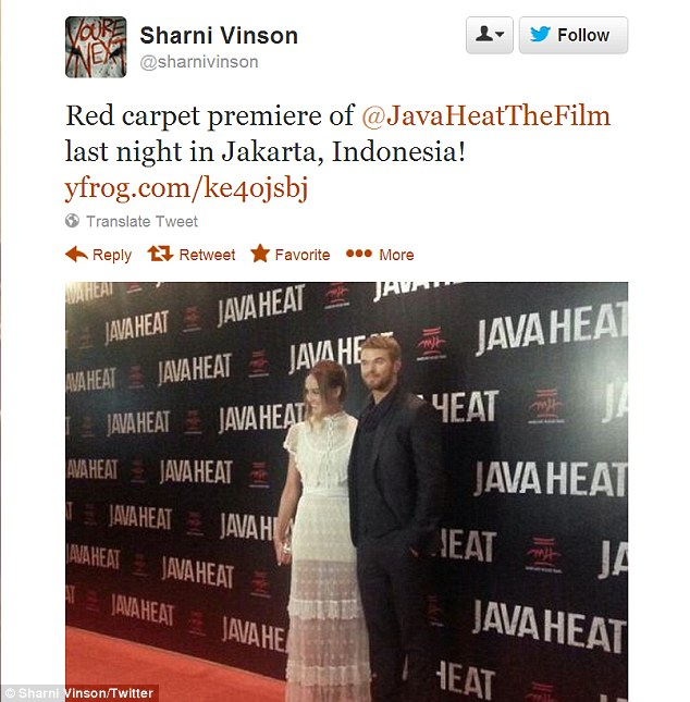 Arm candy: She and the hunky 28-year-old were last seen at red carpet premiere of Java Heat in Jakarta, Indonesia last Wednesday