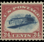 """This undated photo provided by Spink, USA, shows a 1918 """"inverted Jenny"""" stamp. Stolen in 1955, the stamp surfaced last week at Spink USA, a New York auction house. Considered America's most famous stamp, inverted Jennies were worth 24 cents when issued, but they fetch hundreds of thousands of dollars today. (Spink USA via AP)"""