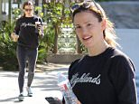 Brentwood, CA - Jennifer Garner cools down after her workout with some iced coffee in a Highland sweater, leggings, and sneakers.\nAKM-GSI      April 16, 2016\nTo License These Photos, Please Contact :\nSteve Ginsburg\n(310) 505-8447\n(323) 423-9397\nsteve@akmgsi.com\nsales@akmgsi.com\nor\nMaria Buda\n(917) 242-1505\nmbuda@akmgsi.com\nginsburgspalyinc@gmail.com