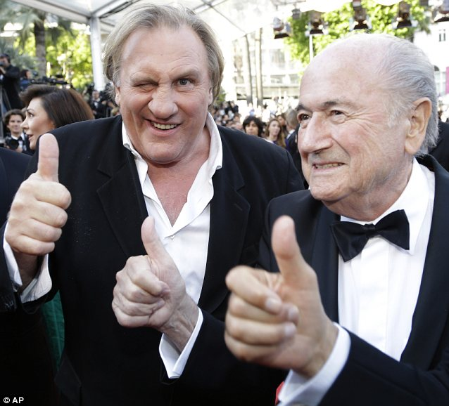 He's back: Despite renouncing his French citizenship and moving to Russia, Gerard Depardieu was happy to attend the festival with FIFA president Sepp Blatter