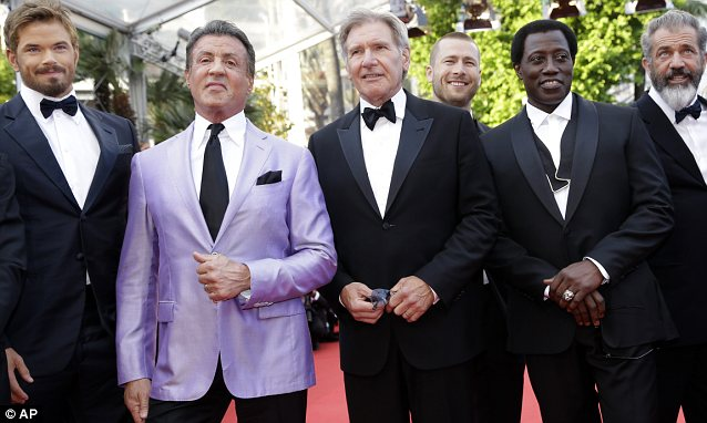 Showing their support: Expendable 3 stars Kellan Lutz, Sylvester Stallone, Harrison Ford, Wesley Snipes and Mel Gibson made an appearance at the premiere