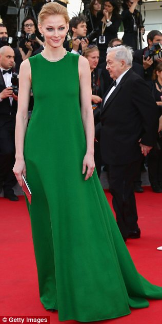 Total opposites: While Vanessa Hessler chose a sparkly pale gown, Svetlana Khodchenkova stood out in a long green dress