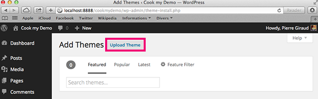 upload a new theme for your blog