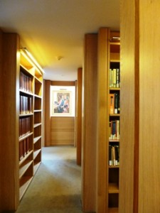 View between bookcases
