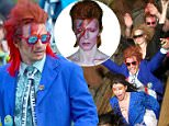 EXCLUSIVE: James Franco celebrated his birthday with pals at Disneyland and Paid homage to David Bowie by dressing up as the fallen legend and painting their faces with lightning bolts. James also had bright red hair and wore a blue coat and was all smiles as he rode many of the park's rides including Splash Mountain, Big Thunder Mountain, the teacups and and Alice in Wonderland. \nJames was all smiles as he and his friends took selfies with a disposable camera as well as their phones. he wore a pair of bright red shades to match his hair.\nJames stayed close to a couple of the women in the group, often putting his arms around them as they walked and rode rides. \nJames and his group definitely turned heads as they walked through the theme park, often left people with confused looks\n\nPictured: James Franco\nRef: SPL1265846  190416   EXCLUSIVE\nPicture by: Fern / Splash News\n\nSplash News and Pictures\nLos Angeles: 310-821-2666\nNew York: 2